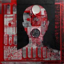 Vivek Rao | Scarlet Tides Duality Of Grey VIII Mixed media by artist Vivek Rao on wood and acrylic | ArtZolo.com