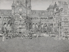 Cityscape Pen-ink Art Drawing title 'Cst' by artist Umesh Ghadge