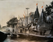 Cityscape Charcoal Art Painting title 'Ganga Ghat' by artist Akash Parkande