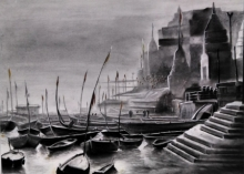 Cityscape Charcoal Art Painting title Ganga Ghat 4 by artist Akash Parkande