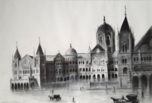 Cityscape Charcoal Art Painting title Old Mumbai by artist Akash Parkande
