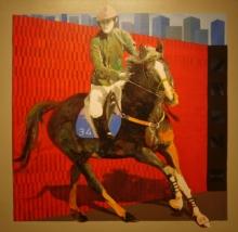 Figurative Acrylic Art Painting title 'Jockey 1' by artist Nayanjeet Nikam