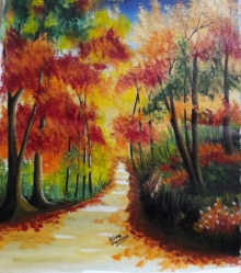Landscape Acrylic Art Painting title 'Autumn Trees' by artist Reema Ravindran