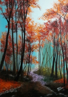 Landscape Acrylic Art Painting title 'Gulmohar Trees' by artist Reema Ravindran