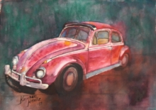 Transportation Watercolor Art Painting title 'Vintage Series 2' by artist Kanchan Hande