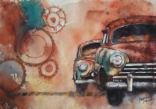 Transportation Watercolor Art Painting title 'Vintage Series 4' by artist Kanchan Hande