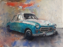Transportation Watercolor Art Painting title 'Vintage Series 5' by artist Kanchan Hande